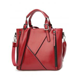 Zippers Buckles PU Leather Tote Bag - Wine Red