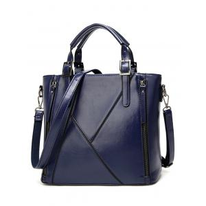 Zippers Buckles PU Leather Tote Bag - Deep Blue