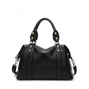 Metal Textured Leather Zipper Tote Bag - Black