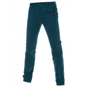 Mid-Rise Zipper Fly Straight Leg Plain Pants