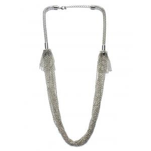 Layered Chain Tassel Drape Necklace