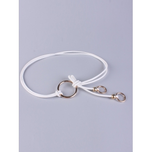 Adjustable PU Leather Skinny Belt with Metal Rings - White - L