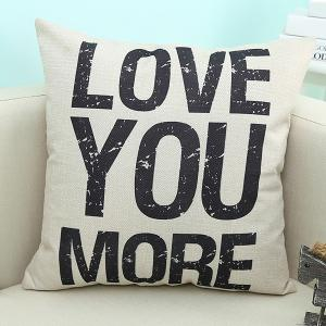 Home Decor Love You More Quote Printed Sofa Pillow Case - Beige