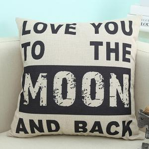 Modern Love You Moon Letter Printed Sofa Cushion Pillow Case