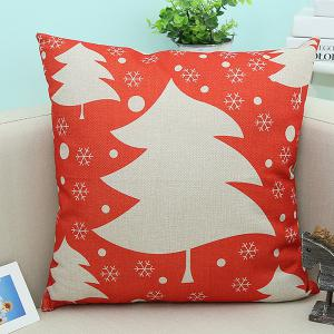 Flax Christmas Tree Printed Cushion Decorative Pillow Case
