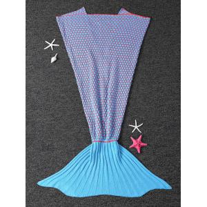 Thicken Knitted Dot Sleeping Bag Kids Wrap Sofa Mermaid Blanket - Blue - M