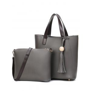 Tassels Colour Spliced Stitching Tote Bag - Deep Gray