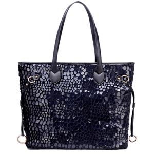 Sequins PU Leather Spliced Handbag - Black - 38