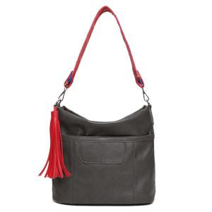 Colored Strap Tassel PU Leather Shoulder Bag