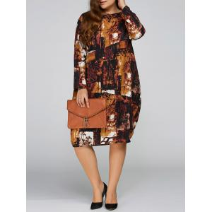 Plus Size Printed Cocoon Dress with Pocket