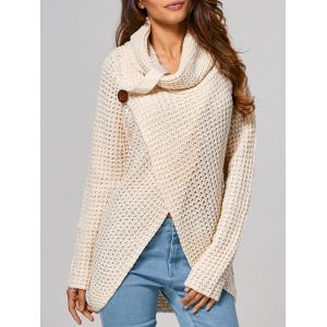 Hollow Out Front Slit Wrap Sweater