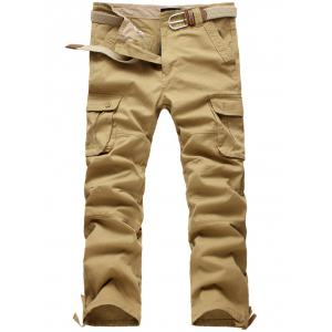 Zipper Fly Straight Leg Pockets Embellished Cargo Pants