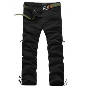 Zipper Fly Straight Leg Splicing Pockets Cargo Pants