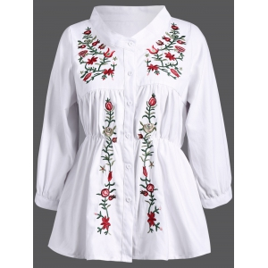 Stand Collar Plant Embroidery Elastic Waist Blouse - White - Xl