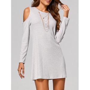 Cut Out Ribbed Casual Tunic Jumper Dress