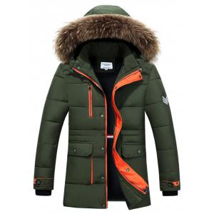 Furry Hood Color Block Zip-Up Padded Coat
