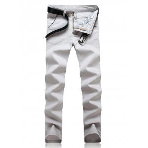 Knitting Spliced Edging Zipper Fly Narrow Feet Pants