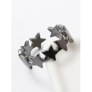 Polished Tiered Star Casual Cuff Ring - Gun Metal