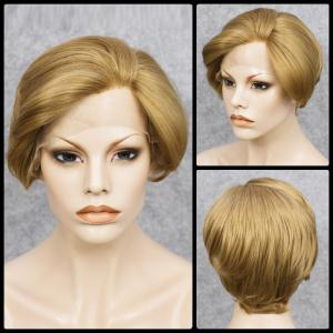 Short Straight Mixed Color Lace Front Synthetic Wig - Colormix - 14inch