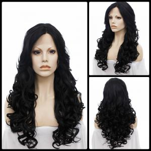Long Centre Parting Wavy Lace Front Synthetic Wig