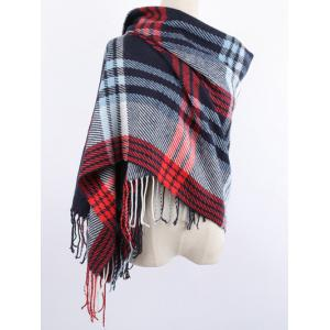 Warm Stripe Plaid Print Fringed Edge Shawl Blanket Wrap Scarf - Red