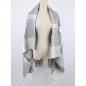 Elegant Warm Plaid Print Shawl Blanket Scarf - Light Gray