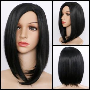 Medium Glossy Straight Side Parting Bob Synthetic Wig