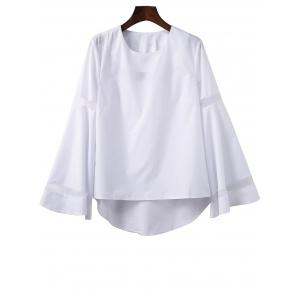 Bell Sleeve High Low T-Shirt with Mesh Panel