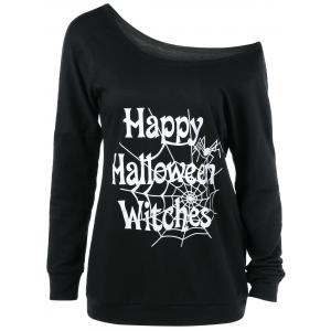 Plus Size Skew Collar Halloween Graphic T-Shirt