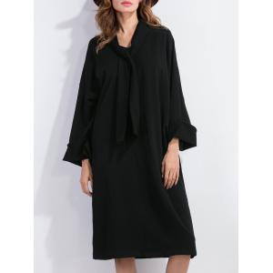 Bow Tie Long Sleeve Shift Dress
