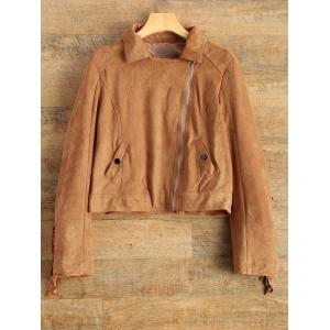 Tassels Suede Biker Jacket - Brown - Xl
