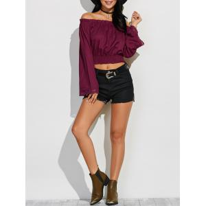 Off Shoulder Fluid Blouson Top - Wine Red - Xl