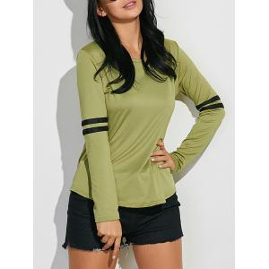 Long Sleeve Cotton Tee With Stripe Insert