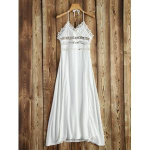 Halter Crochet Trim Backless Long Beach Dress - White - L