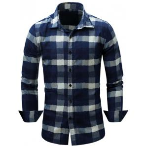Color Block Checked Turn-Down Collar Long Sleeve Shirt - Deep Blue - M