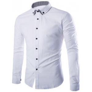Plaid Spliced Slimming Long Sleeve Shirt - White - M