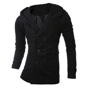 Hooded Double-Breasted Lengthen Coat - Black - L