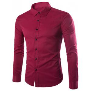 Plus Size Slimming Long Sleeve Shirt - Wine Red - M