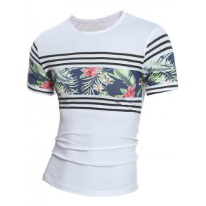 Crew Neck Stripe and Floral Print Hawaiian T-shirt
