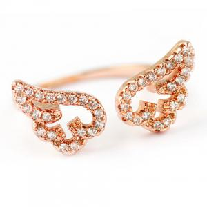 Cute Rhinestone Angel Wings Finger Cuff Ring