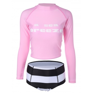Cropped T-Shirt and High Waisted Briefs Surf Suit - Pink - M