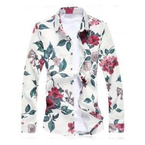 Plus Size Floral Leaves Print Long Sleeve Shirt - Red - L