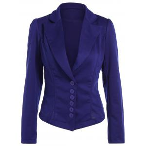 Asymmetric Lapel Single Breasted Blazer - Blue - L