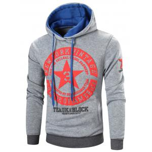 Star Printed Color Block Pullover Hoodie