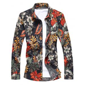 Buttoned Floral Printing Long Sleeve Casual Shirt - Orange - M