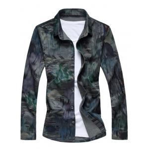Buttoned Printed Long Sleeve Casual Shirt - Green - M