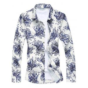 Buttoned Sequins Floral Long Sleeve Shirt - Colormix - M