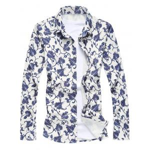 Floral Printed Long Sleeve Shirt - Colormix - M