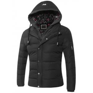 Faux Twinset Zipper Hooded Quilted Jacket