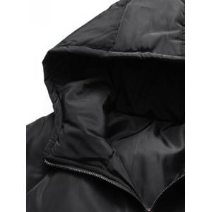 Rib Cuff Button Pocket Zip Up Hooded Padded Coat -
